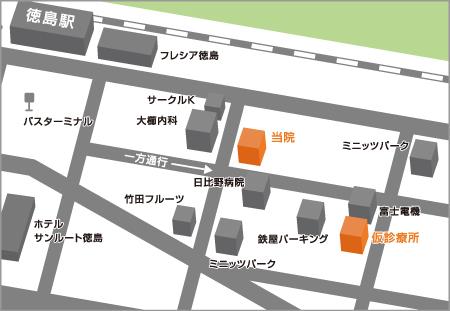 仮診療所へのアクセスマップ